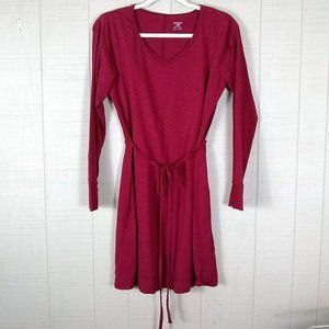 Horny Toad Cotton Knit Long Sleeve Dress Red